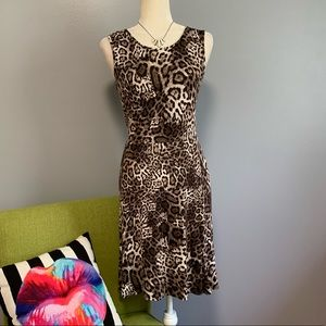 Calvin Klein Leopard Print Stretch Dress C6